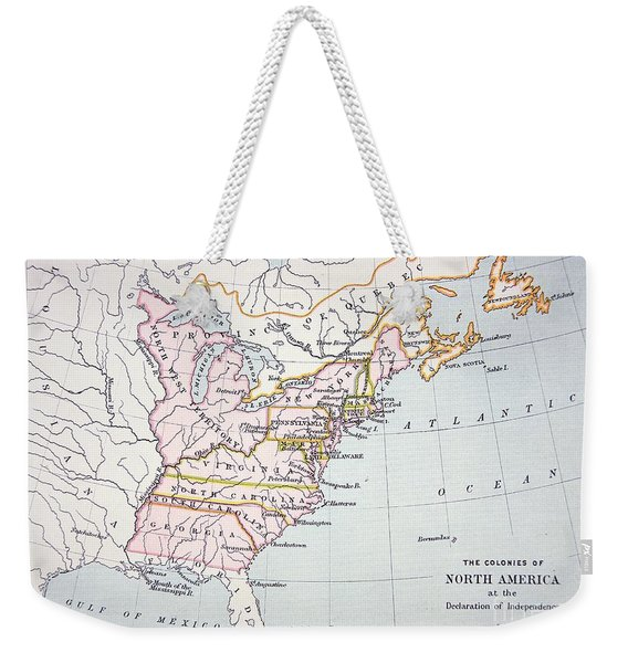 Map Of The Colonies Of North America At The Time Of The Declaration Of Independence Weekender Tote Bag