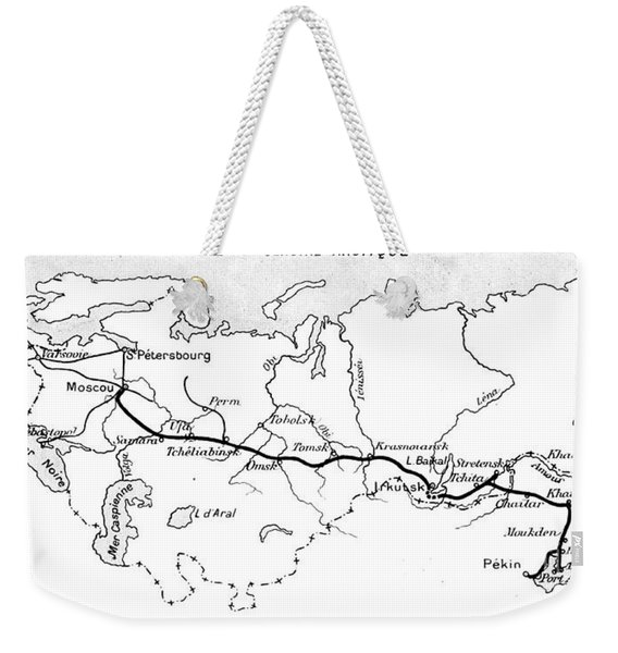 Map Of The Route Of The Trans Siberian Railway Weekender Tote Bag