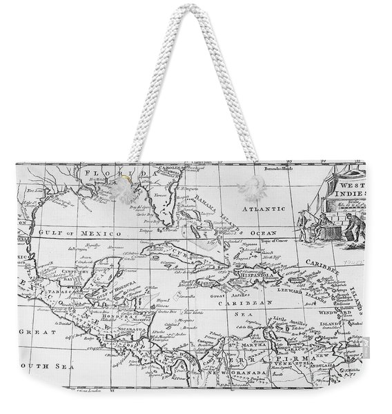 Map Of The West Indies Florida And South America Weekender Tote Bag