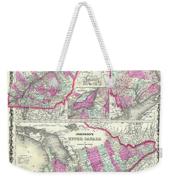Map Of Upper And Lower Canada 1862 Weekender Tote Bag