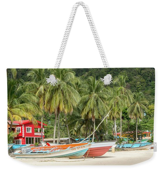 Weekender Tote Bag featuring the photograph Maracas Fishing Village by Rachel Lee Young