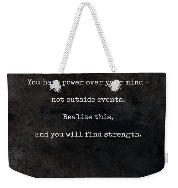 Marcus Aurelius Quotes - Literary Quotes - Book Lover Gifts - Typewriter Quotes Weekender Tote Bag