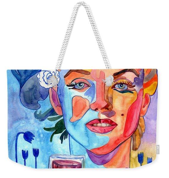 Marilyn Monroe Drinking Wine Weekender Tote Bag