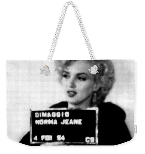 Marilyn Monroe Mugshot In Black And White Weekender Tote Bag