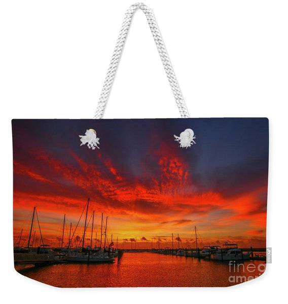 Weekender Tote Bag featuring the photograph Marina Sunrise - Ft. Pierce by Tom Claud