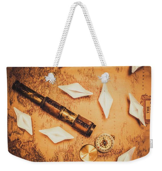 Maritime Origami Ships On Antique Map Weekender Tote Bag