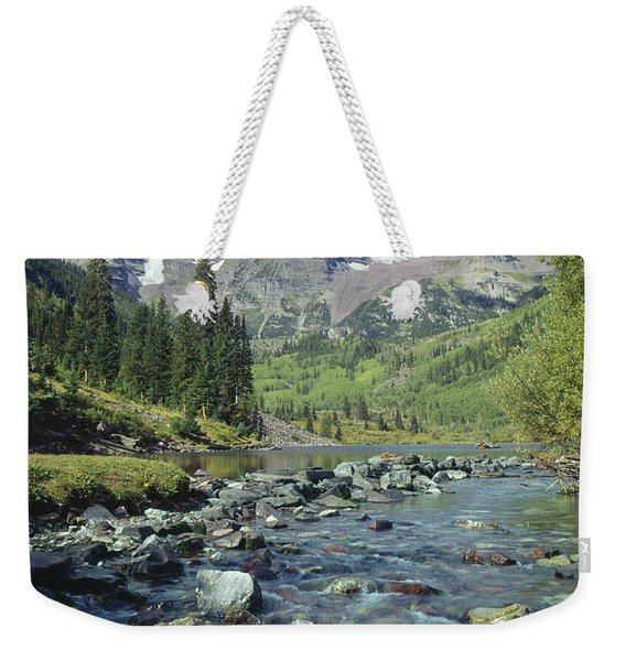 210404-maroon Bells And Creek  Weekender Tote Bag