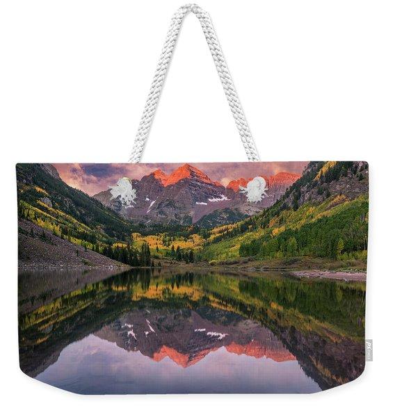 Maroon Bells At Sunrise Weekender Tote Bag