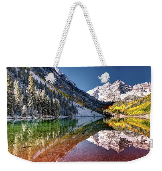 Olena Art Sunrise At Maroon Bells Lake Autumn Aspen Trees In The Rocky Mountains Near Aspen Colorado Weekender Tote Bag