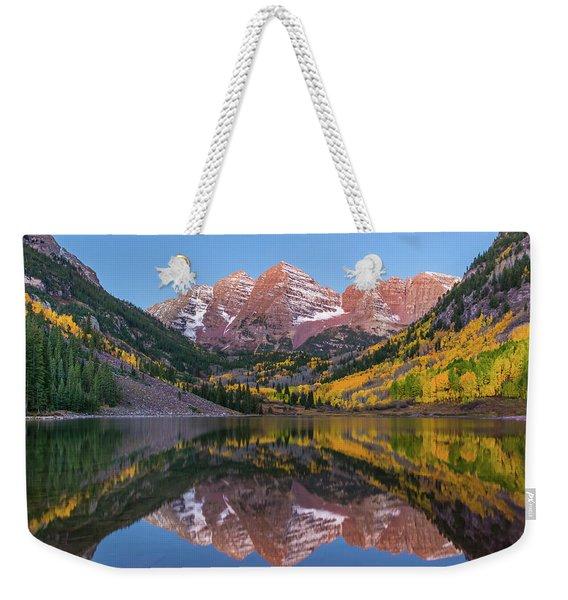 Maroon Bells Sunrise Weekender Tote Bag