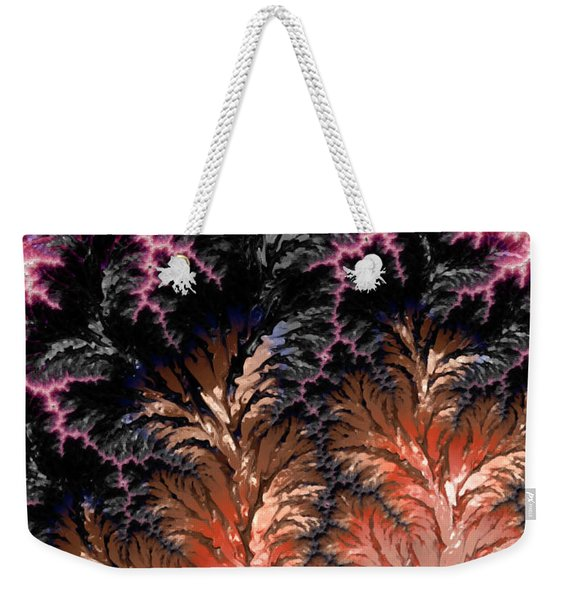 Maroon, Black And Orange Fractal Design Weekender Tote Bag