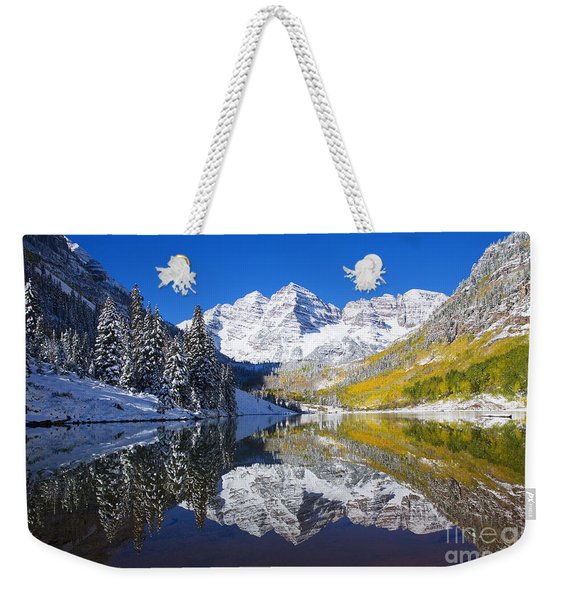 Maroon Lake And Bells 1 Weekender Tote Bag