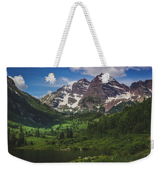 Weekender Tote Bag featuring the photograph Maroon Lake And Maroon Bells by Andy Konieczny