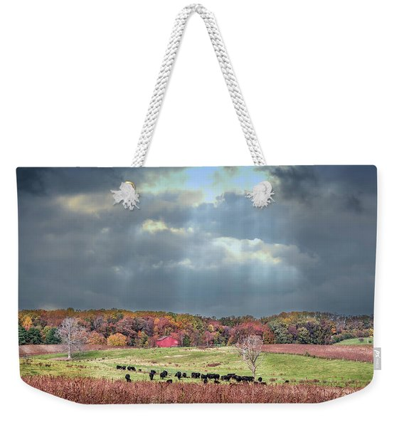 Maryland Farm With Autumn Colors And Approaching Storm Weekender Tote Bag