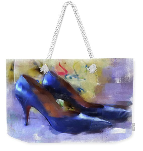 Weekender Tote Bag featuring the digital art Mary's Mid-century Moderne Collection No. 1 by Gina Harrison