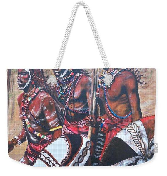 Blaa Kattproduksjoner       Masaai Warriors Weekender Tote Bag