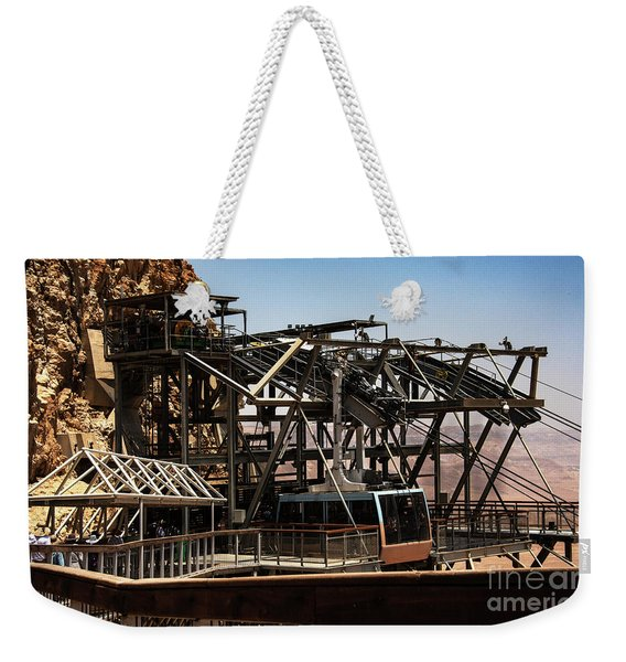 Weekender Tote Bag featuring the photograph Masada Lift by Mae Wertz