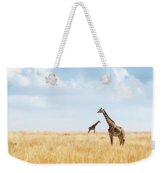 Masai Giraffe In Kenya Plains Weekender Tote Bag