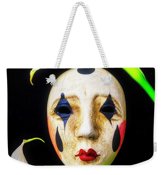 Mask And Calla Lilies Weekender Tote Bag