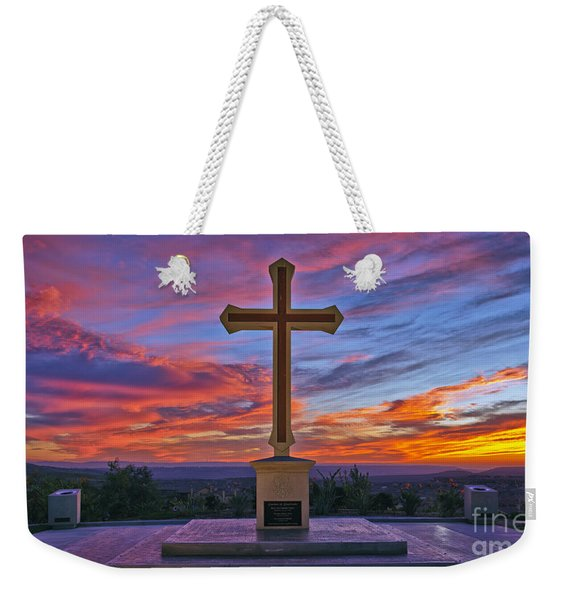 Weekender Tote Bag featuring the photograph Christian Cross And Amazing Sunset by Sam Antonio Photography