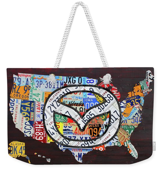 Mazda License Plate Map Of The Usa Weekender Tote Bag