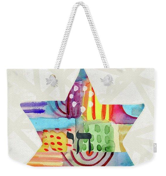 Mazel Tov Colorful Star- Art By Linda Woods Weekender Tote Bag