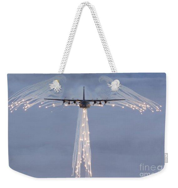 Mc-130h Combat Talon Dropping Flares Weekender Tote Bag