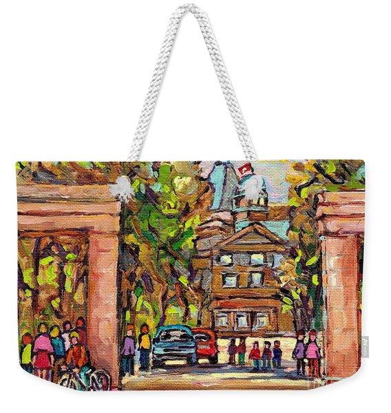 Mcgill Gates  Entrance Of Mcgill University Montreal Quebec Original Oil Painting Carole Spandau Weekender Tote Bag