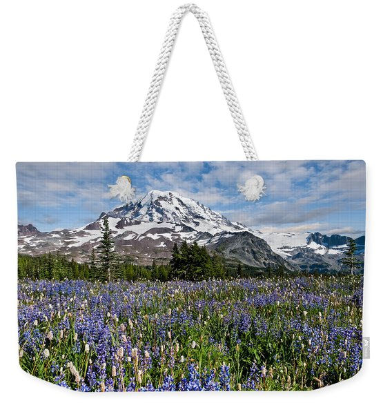 Meadow Of Lupine Near Mount Rainier Weekender Tote Bag