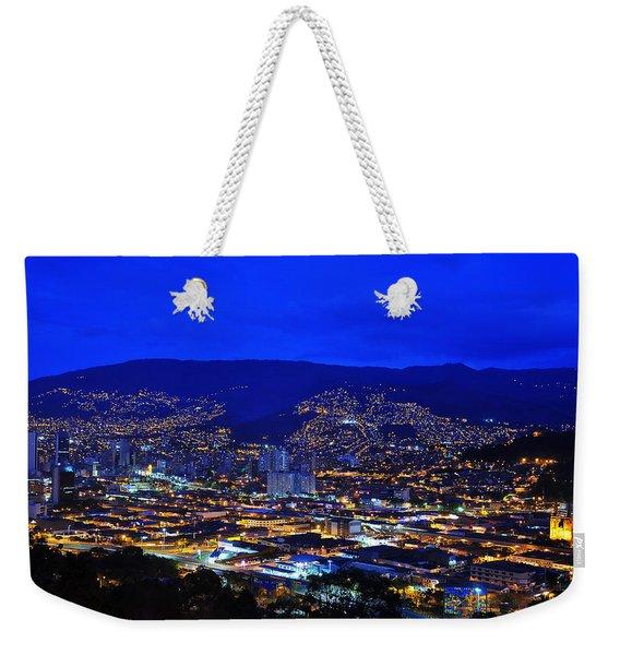 Medellin Colombia At Night Weekender Tote Bag