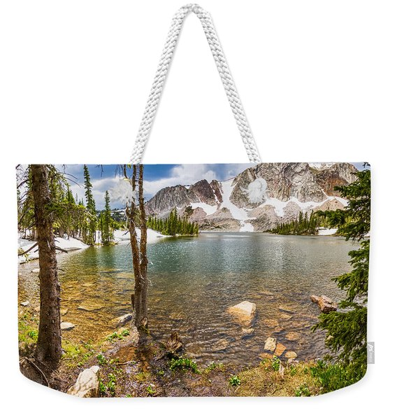 Medicine Bow Snowy Mountain Range Lake View Weekender Tote Bag