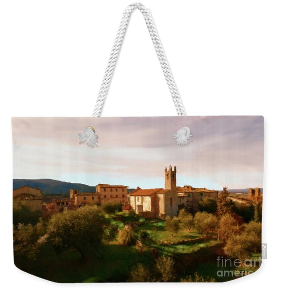 Weekender Tote Bag featuring the painting Medieval Tuscany by Rosario Piazza