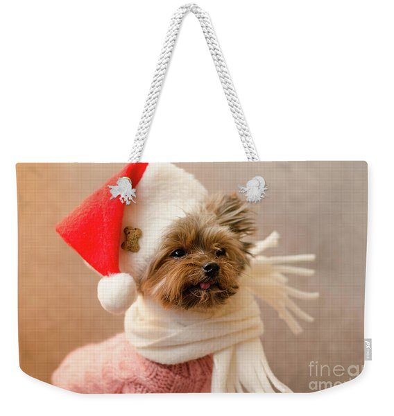 Melanie In Christmas Hat Weekender Tote Bag