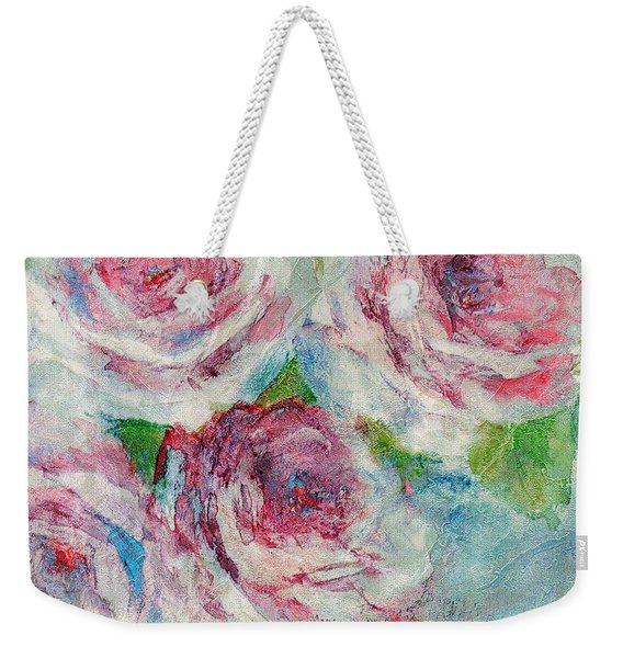 Weekender Tote Bag featuring the painting Memories Of Roses by Writermore Arts