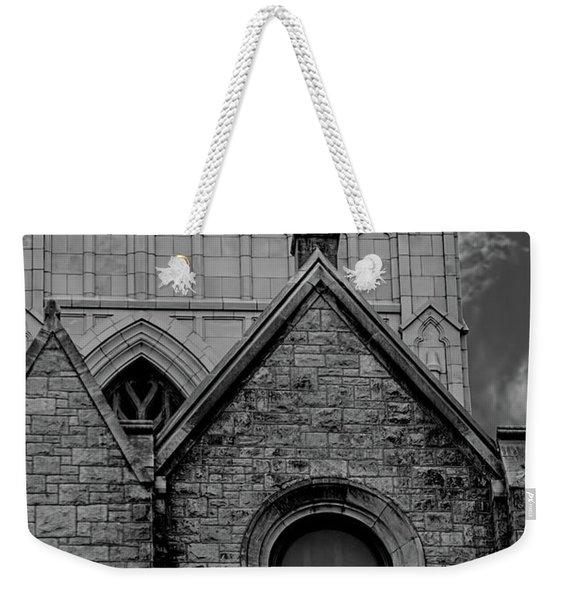Memphis Cross In The Clouds Bw Weekender Tote Bag