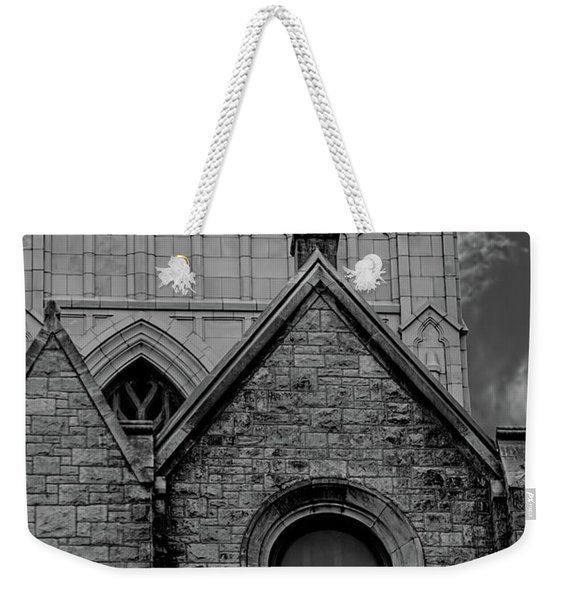Memphis Cross In The Clouds Bw Weekender Tote Bag