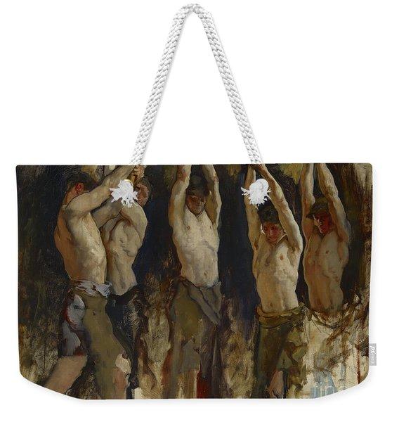 Men At An Anvil, Study For The Spirit Of Vulcan Weekender Tote Bag