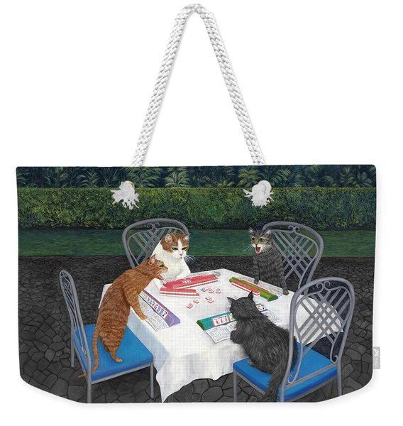 Meowjongg - Cats Playing Mahjongg Weekender Tote Bag