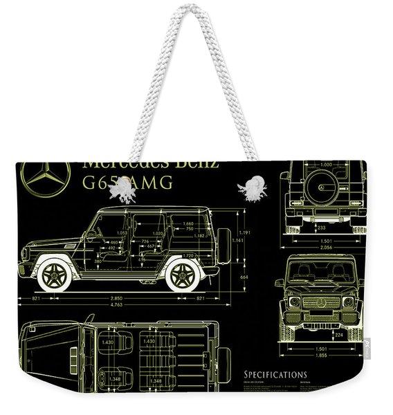 Mercedes Benz G 65 Blueprint Black Weekender Tote Bag