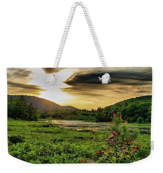 Meredith Pond Sunset Weekender Tote Bag