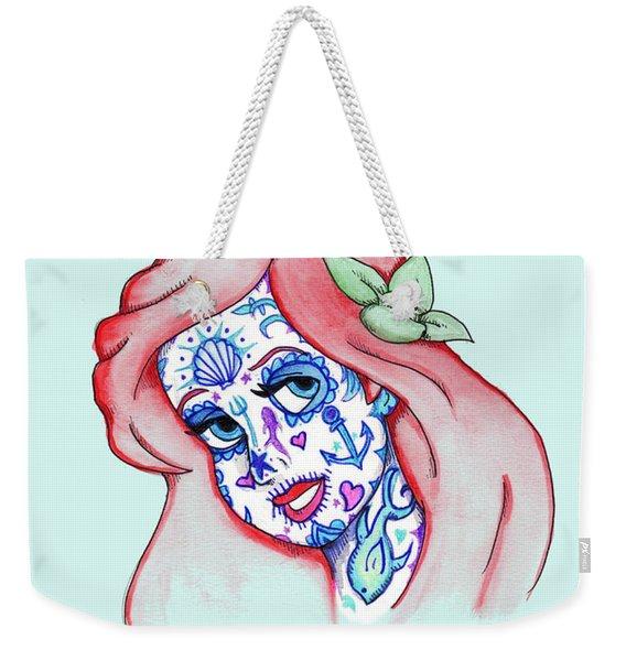 Mermaid Sugar Skull Weekender Tote Bag