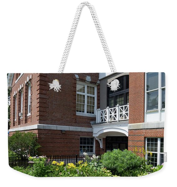 Weekender Tote Bag featuring the photograph Merrill Memorial Library, Yarmouth, Maine #60140 by John Bald