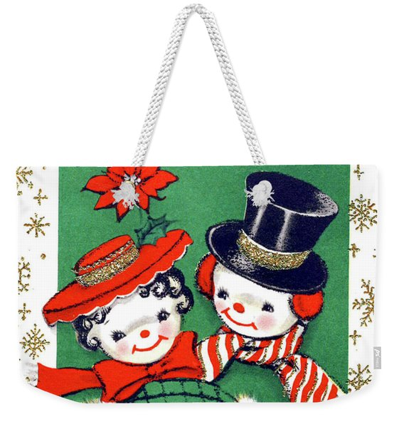 Merry Christmas From Snowman Couple Weekender Tote Bag