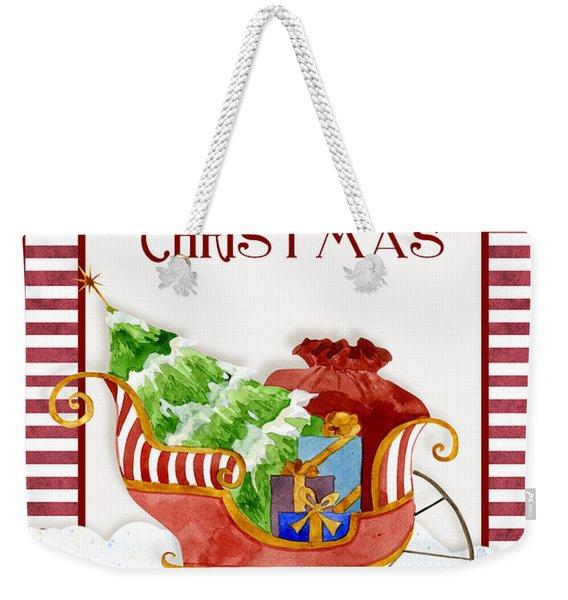 Merry Christmas Santa's Sleigh W Gifts In Snow Weekender Tote Bag