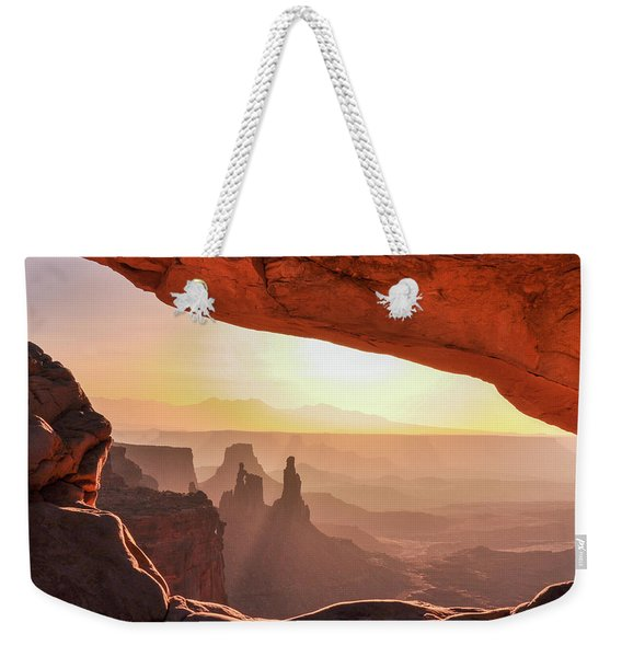Mesa Arch At Sunrise, Washer Woman Formation , Canyonlands National Park, Utah Weekender Tote Bag