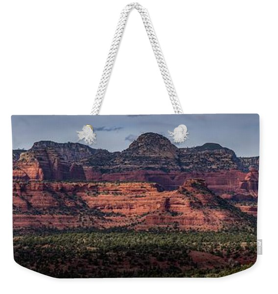 Weekender Tote Bag featuring the photograph Mescal Mountain Panorama by Andy Konieczny