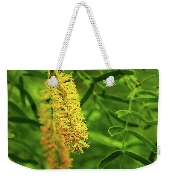 Weekender Tote Bag featuring the photograph Mesquite Bloom by Scott Cordell