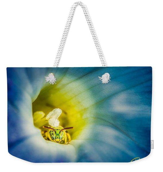 Metallic Green Bee In Blue Morning Glory Weekender Tote Bag