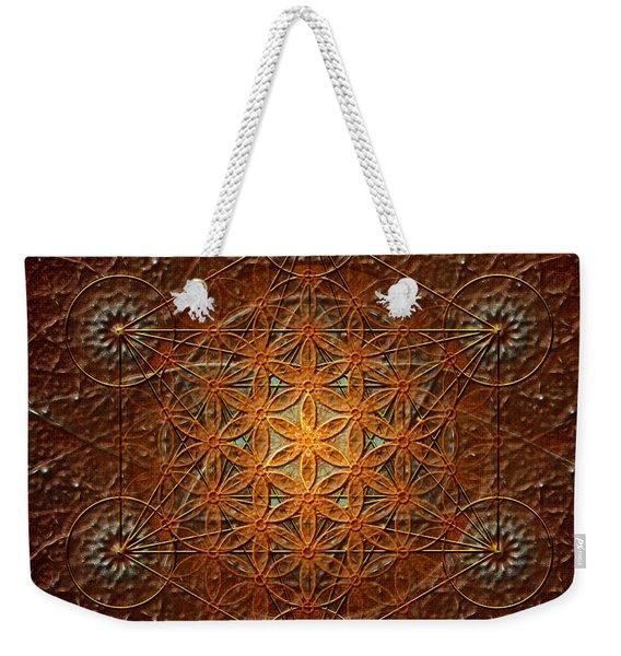 Metatron's Cube Inflower Of Life Weekender Tote Bag