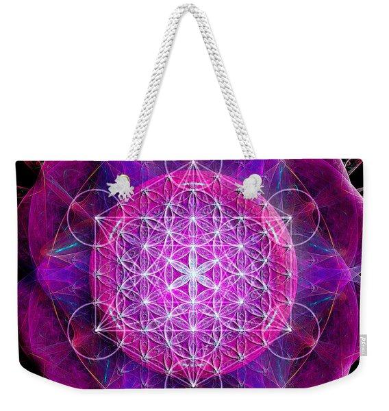 Metatron's Cube On Fractal Pletals Weekender Tote Bag